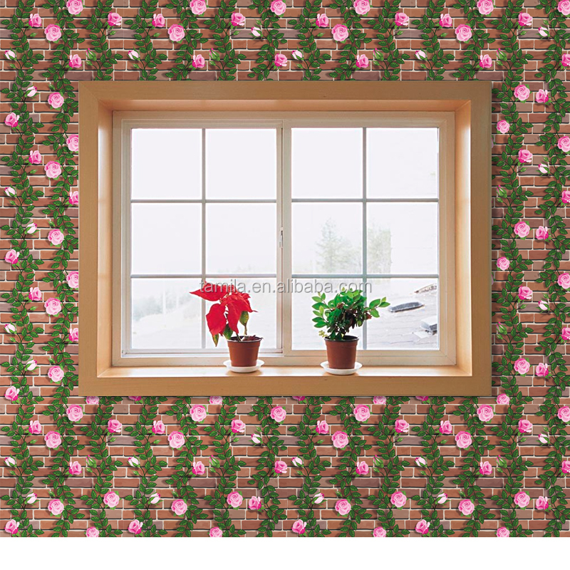 self-adhesive flower brick pattern pvc wall paper flower floral 3d self adhesive Vinyl Wallpaper