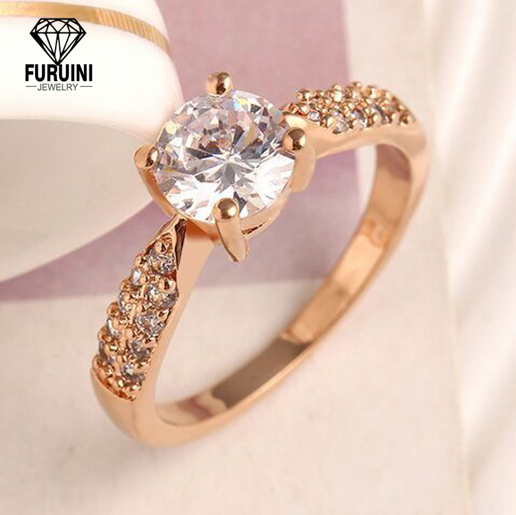 Hot Selling 925 Sterling Silver Jewelry Rose Gold /Rhodium Plated Wedding Ring For Party