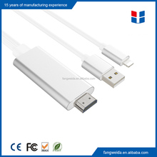 High quality Aluminum shell 8 Pin to HDTV Cable Adapter for iPhone 5/6/7