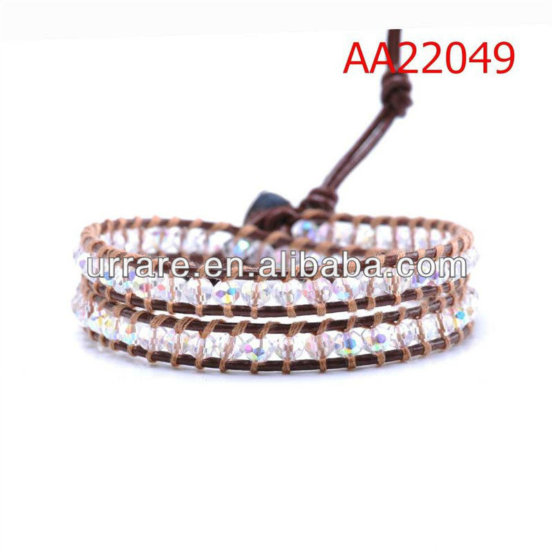Wholesale Dark Brown Leather Braided Two-lines Crystal AB Glass Beads Bracelet