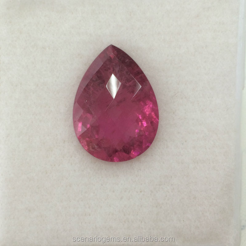 #6OZZZ Natural Pink Tourmaline Pear Faceted Loose Gemstone Rubellite