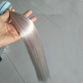 Wholesale 9A Indian Remy Tape Hair Extensions Double Drawn Silver Color Tape In Hair Extensions Virgin Human Hair