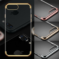 hot selling Ultra slim electroplating bumper frame Clear transparent TPU Soft back phone Cover Case For iPhone 8 7 6s plus