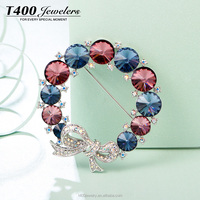 T400 fashion jewelry colorful crystal brooch make with swarovski wholesale