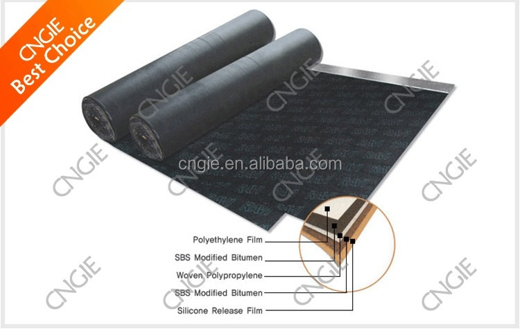 Hot selling rubber roofing waterproof self adhesive membrane