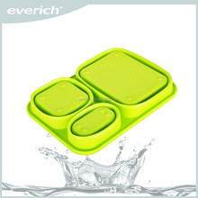 Custom Logo Silicone Folding Lunch Box With Spoon