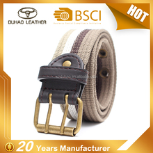 Fabric woven cotton canvas belt with double pin buckle for man