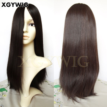 "Stock Jewish Wigs 18"" highlight color 2/4# Silky Straight 100% virgin European Human Hair Free style multi directional"