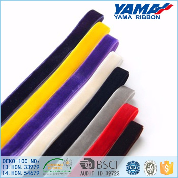 High fastness high quality 3/8 inch nylon solid color velvet ribbon wholesale