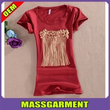 95% cotton/5 elastane slim fit women embroidered t shirt design