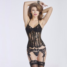women new sexy bustier waist trainer corset with garter belt