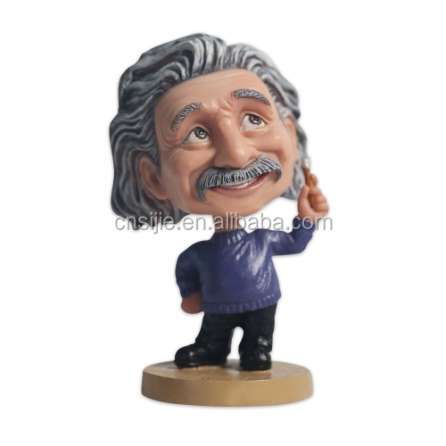 High quality Einstein bobble heads figurines custom polyresin bobble head ornament