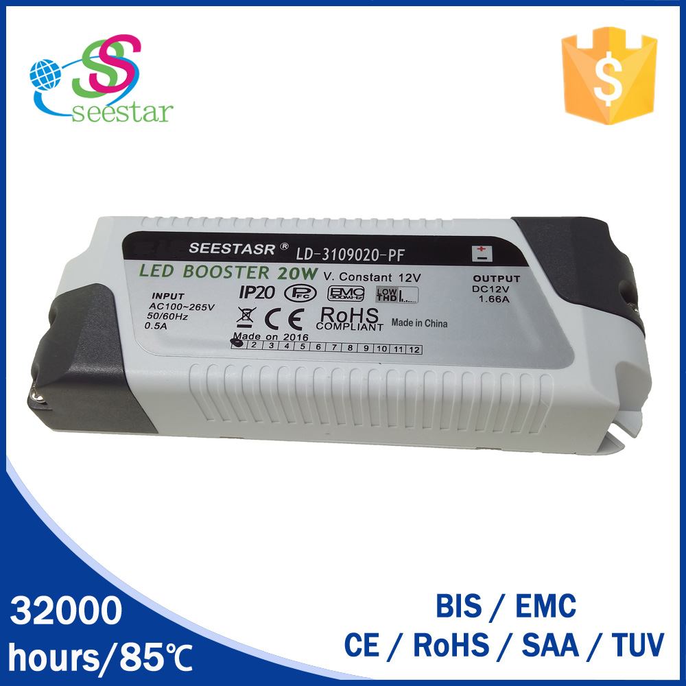2016 new designed high pf constant voltage 12v 20w led driver with the best price