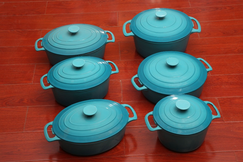 6 pieces Tiffany blue enamel cast iron cookware casserole set