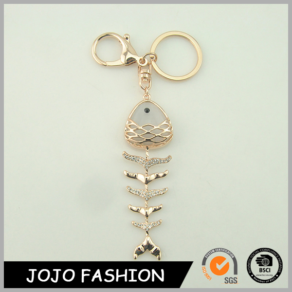 lovely resin fishbone shape key chain/ rhinestone fish pendant key ring