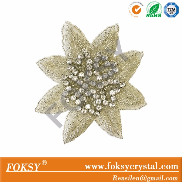 flower sew on hand rhinestone patches, hand crystal rhinestone applique