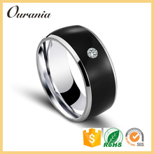 Wholesale Jewelry Bulk Sale Stainless Steel Boys Finger Wedding Band Rings With Zircon