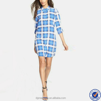 women clothing manufacturer long sleeve straight plaid shirt dress with curved hem