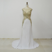 OEM cheap and beautiful elegant beaded white stunning women fitness wear bridesmaid dresses long