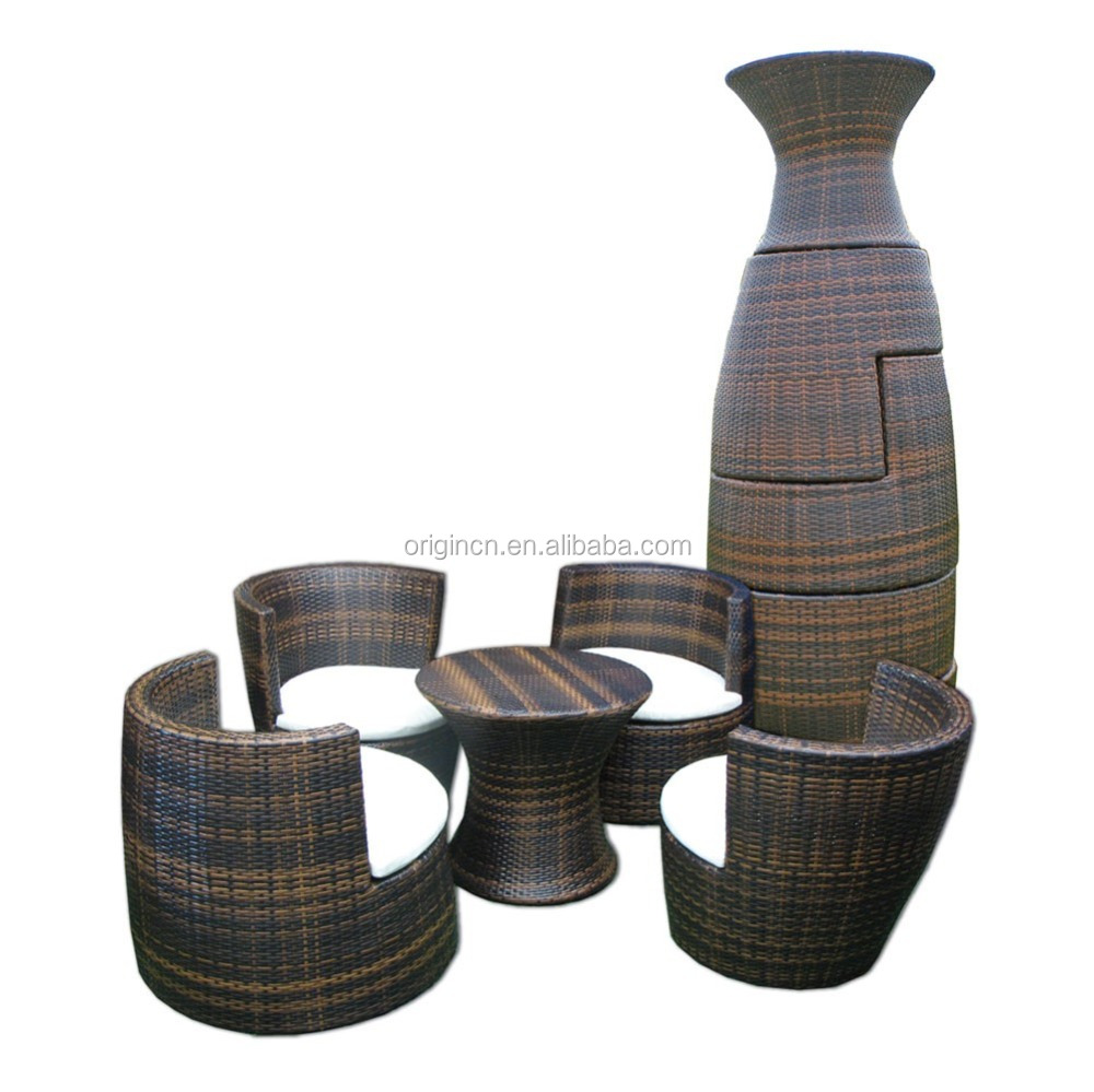088 Space saving stackable oval cocoon shape rattan bistro set wicker garden art furniture