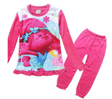 DreamWorks Movie Trolls Poppy clothing set trolls t shirt and pants 2 pcs suit pajamas
