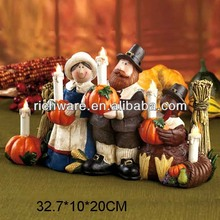 Wholesale resin thanksgiving turkey and pilgrim lighted candles