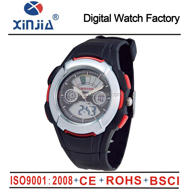 fashion 5 atm water reisstant sport digital analog dual display relojes watch with cold light