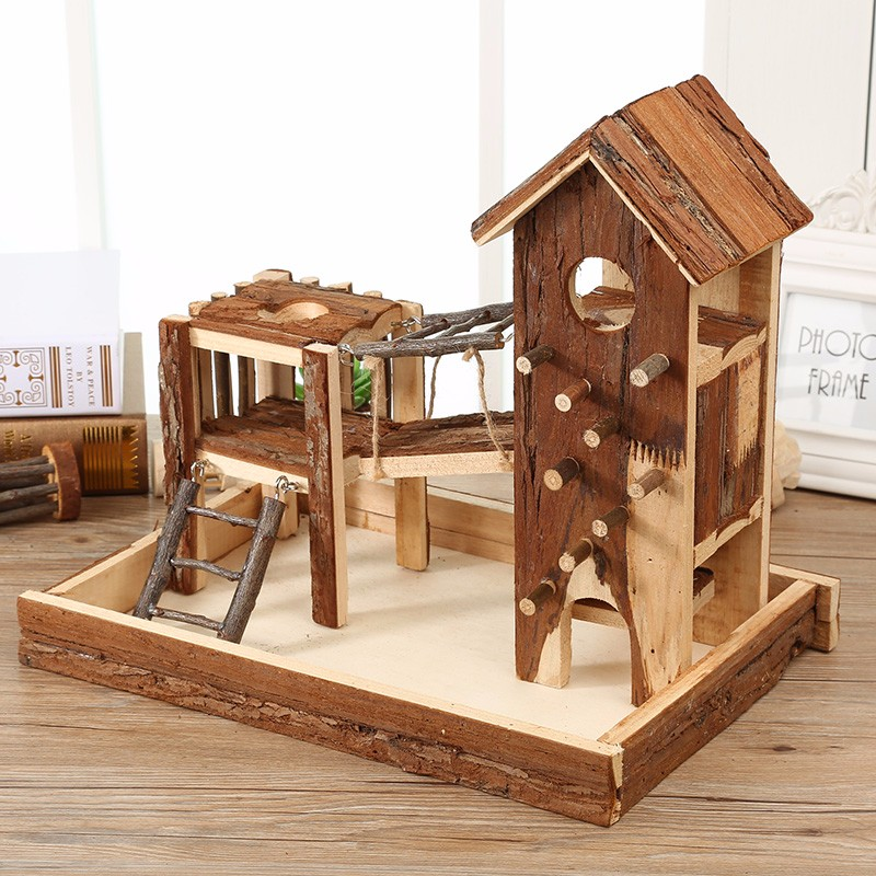 Non-toxic Natural pine wooden castle for hamster guinea pig ferret rabbit rat mice