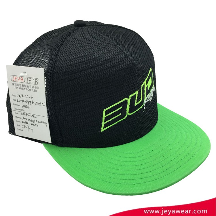 100% Spandex baseball cap black and green flat embroidery snapback cap