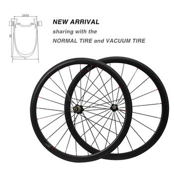 New Carbon Bicycle 38mm Wheelsets 3k 23/25mm Width Clincher-tubular integrated Carbon Road Wheelsets Bike