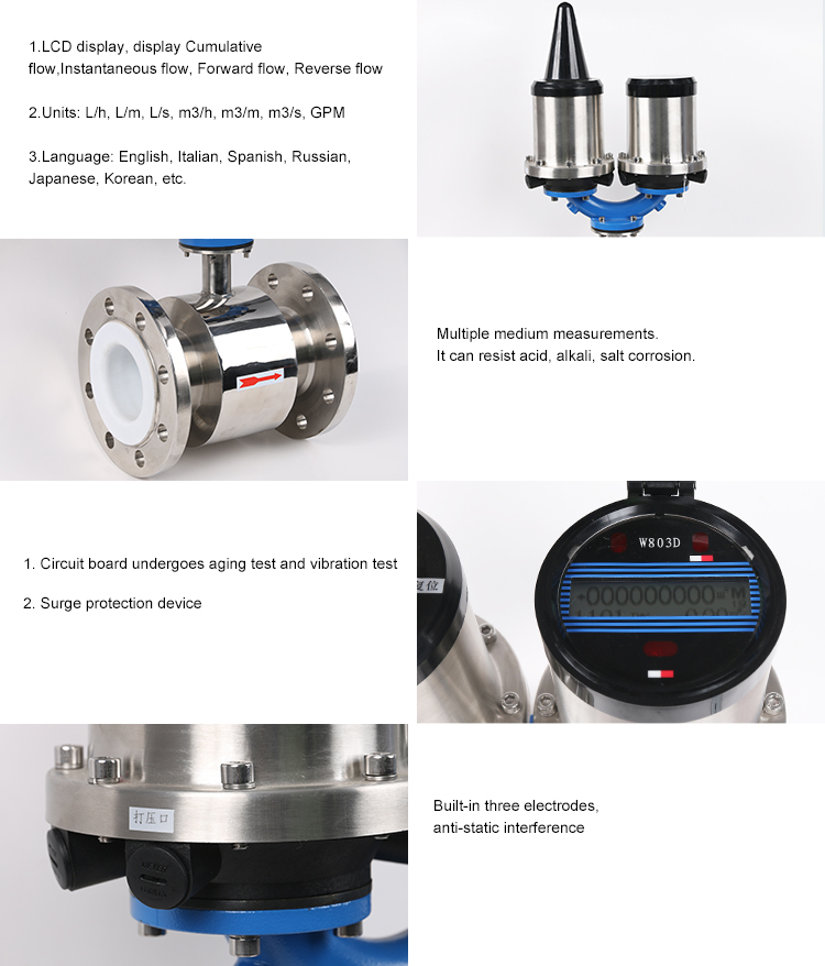 stainless steel battery powered type electromagnetic water flowmeter