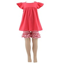 2017 New Arrival Fashion Summer Cotton Ruffled Wholesale Children Baby Kids Clothing Suppliers For Boutiques