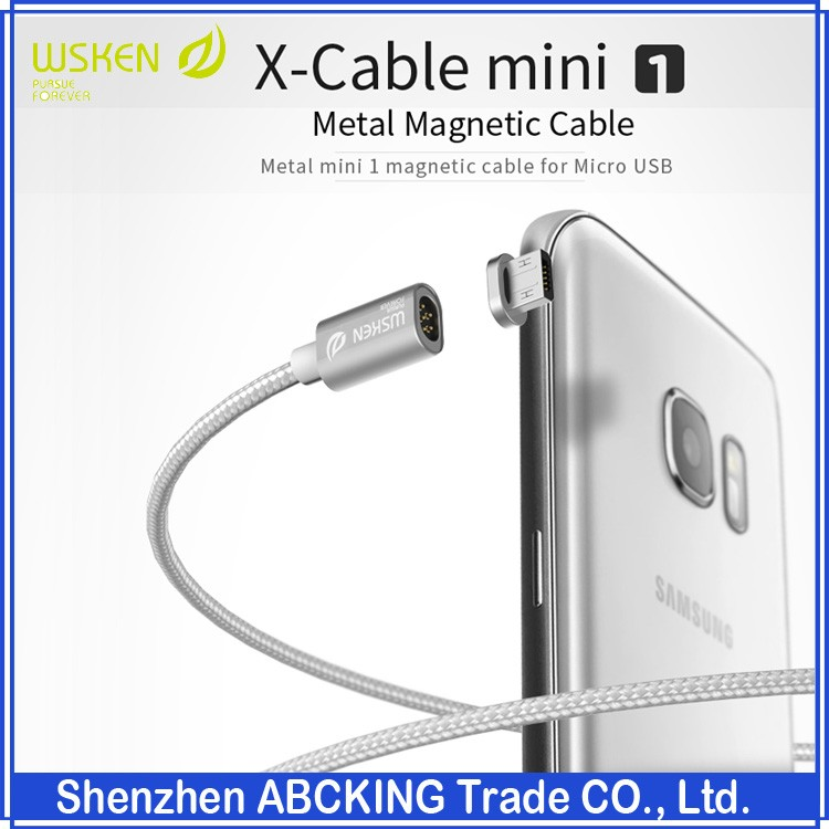 Original Wsken X-Cable Mini2 Metal Magnetic Cable Data Charger Cable For iPhone / Micro USB Android Phone Samsung Huawei