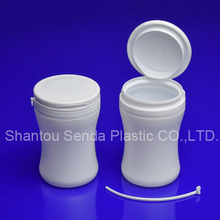 s shape plastic white bottle, cute 100ml chewing gum bottle, candy jar