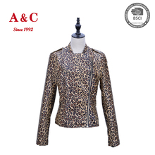 Slim Lady Sexy Leopard Grain Faux Leather Jacket