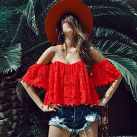 F20324A New fashion high quality off shoulder short sleeve cut out red lace tops for women 2016 elegant fancy tops design