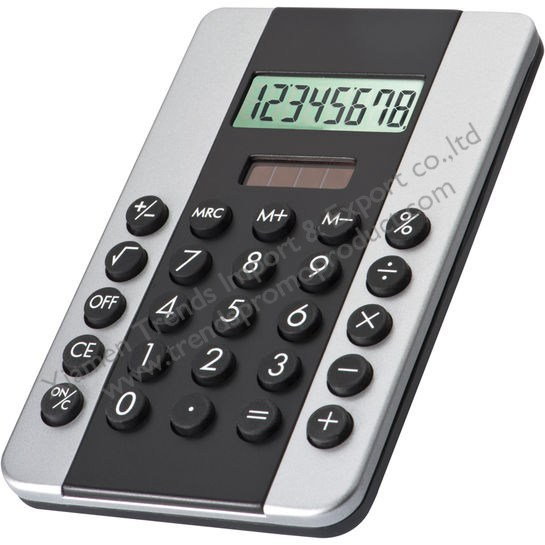 User friendly plastic CrisMa BIG BLACK LINE dual power calculator with 8 digits
