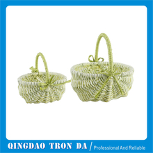 Unique Green willow basket with 1 big handle