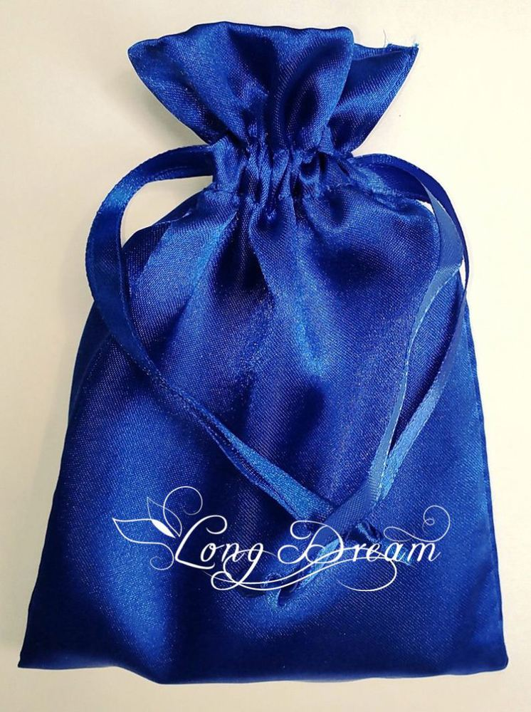 wholesale faux fabric satin jewelry bag with beautiful ribbon string