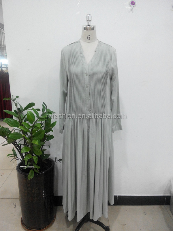 High quality fashion pleat designs v-neck muslim women dress pictures