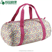 Simple beautiful round sports duffle bag logo printed travel bags for lady