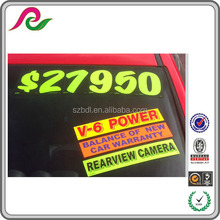 fluorescent numbers adhesive windshield sticker