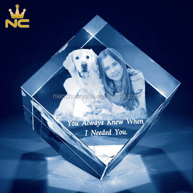 Square Glass Paperweight K9 Laser Photo 3d Crystal Cube For Engraving Wedding Christmas Gifts