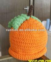 Lovely Baby's Hand Crocheted Pumpkin Hat