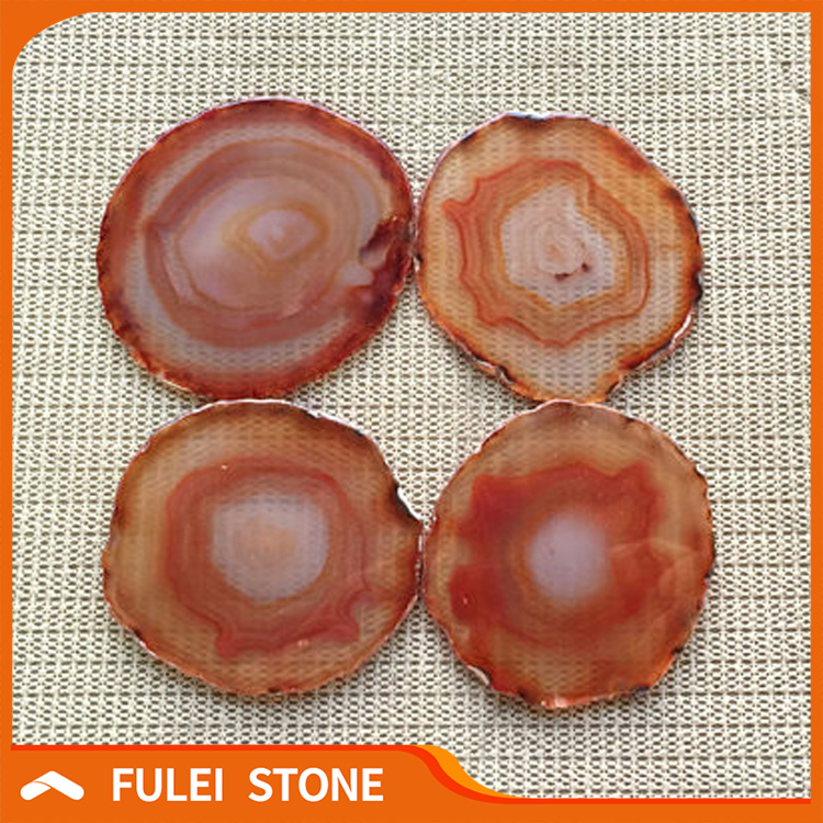 Wholesale Coasters 4 pieces Red Agate Coaster Set