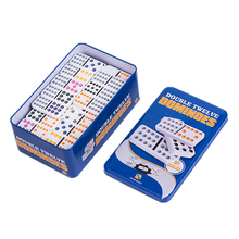 YUANHE Double 12 color Dot Dominoes with tin box custom  colored dominoes