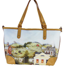 New popular modern and cool painted women PU handle PVC handbag