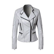 Fashion model pu leather casual jacket coat woman