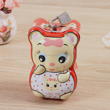 China factory directly sale anime cute bear shape metal tin coin saving money box with lock