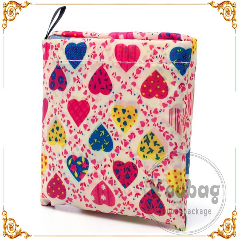 Hot sale machine made polyester or nylon folding bag with pouch with low price